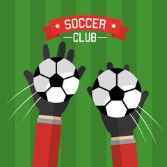 soccer club hands goalkeeper balls competition vector illustration