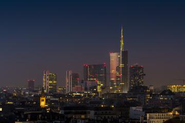 Milan skyline by night