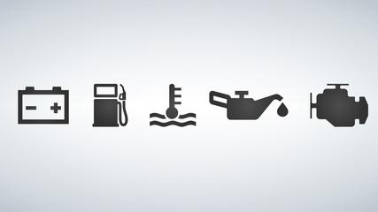 Car dashboard icons, vector illustration