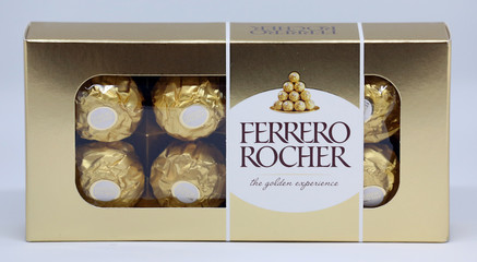Ferrero Rocher chocolates box is seen in this picture illustration