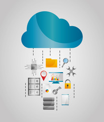 cloud data streams storage file protection tools vector illustration