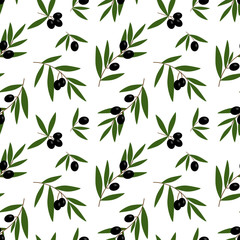 black olives branches with green leaves oil pattern on a white background seamless vector