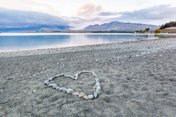 Romantic heart shape with beautiful landscape