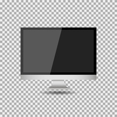 Realistic modern, blank screen lcd, led, TV, monitor on isolate background with pedestal. Vector illustration