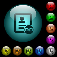 Link contact icons in color illuminated glass buttons
