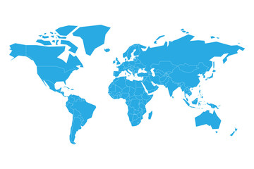 Wall Mural - Blue vector map of World. Simplified illustration.