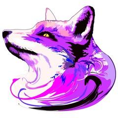 Photo sur Aluminium Draw The Purple Fox Spirit