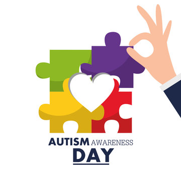autism awareness day hand holding puzzle piece vector illustration