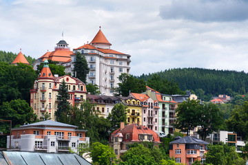 Beautiful panoramic view of houses in spa town Karlovy Vary, Czech Republic