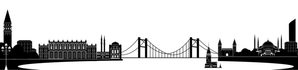 Panorama of Istanbul flat style vector illustration. Istanbul architecture. Cartoon Turkey symbols and objects. Monochrome silhouette of Istanbul