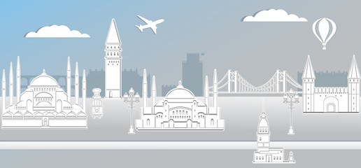 Panorama of Istanbul paper art style vector illustration. Istanbul architecture. Cartoon Turkey symbols and objects. Historical sights. Paper city.