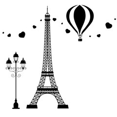 Card design with symbols of Paris: Eiffel tower, balloon, lamp,  hearts monochrome flat style vector illustration.