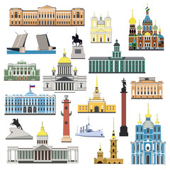 Cartoon symbols and objects set of St. Petersburg. Popular tourist architectural objects: Winter Palace, Palace bridge, Admiralty, Isaac cthedral, Kazan cathedral and another sights.