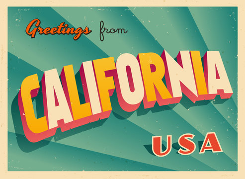 Vintage Touristic Greetings from California, USA Postcard - Vector EPS10. Grunge effects can be easily removed for a brand new, clean sign.