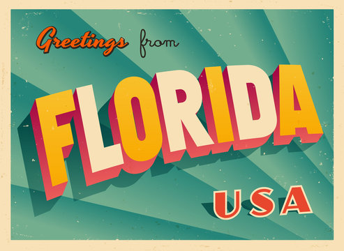 Vintage Touristic Greetings from Florida, USA Postcard - Vector EPS10. Grunge effects can be easily removed for a brand new, clean sign.