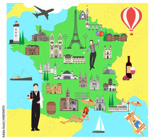 Travel Map Of France.France Travel Map With Sights Flat Style Vector Illustration