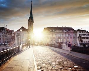 city center of Zurich with famous Fraumunster Church, Switzerland