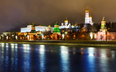 Night december Kremlin historical center of Moscow, Russia. Pretty christmas Moscow river illuminated with sparks, 2018.