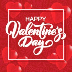 Happy Valentine's Day hand drawn brush lettering with 3d hearts on doodle red background. Perfect for holiday flat design. Vector illustration.