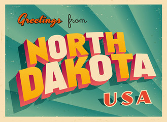 Vintage Touristic Greetings from North Dakota, USA Postcard - Vector EPS10. Grunge effects can be easily removed for a brand new, clean sign.