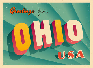 Vintage Touristic Greetings from Ohio, USA Postcard - Vector EPS10. Grunge effects can be easily removed for a brand new, clean sign.