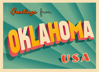 Vintage Touristic Greetings from Oklahoma, USA Postcard - Vector EPS10. Grunge effects can be easily removed for a brand new, clean sign.