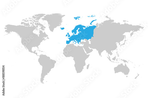 Europe continent blue marked in grey silhouette of world map simple europe continent blue marked in grey silhouette of world map simple flat vector illustration gumiabroncs Image collections