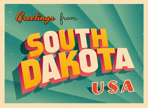 Vintage Touristic Greetings from South Dakota, USA Postcard - Vector EPS10. Grunge effects can be easily removed for a brand new, clean sign.