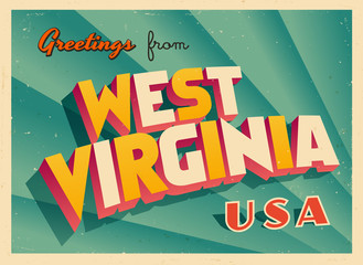 Vintage Touristic Greetings from West Virginia, USA Postcard - Vector EPS10. Grunge effects can be easily removed for a brand new, clean sign.