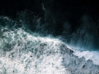 Abstract aerial of waves on Madeira, Portugal