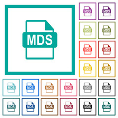 MDS file format flat color icons with quadrant frames