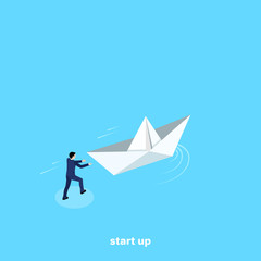 a man in a business suit launches a paper boat, an isometric image