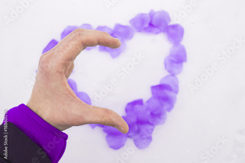 Flat Lay Photo Of Hand Gesture Half Heart In Front Of Heart Made