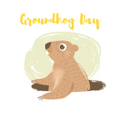 Groundhog day. Vector.
