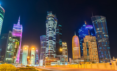 Buildings in the downtown of Doha, the capital of Qatar