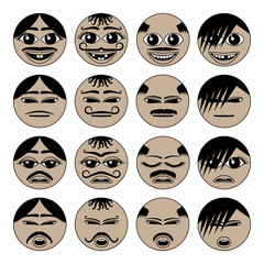 Migrant emoji icons isolated on white background set. Muslim people different character faces for avatars. Vector illustration