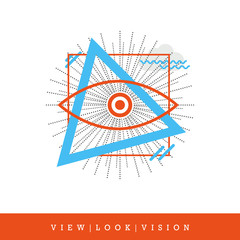 All-seeing Eye, View - Look - Vision Flat Style and Thin Line Icon, Vector Illustration