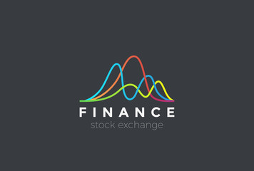 Financial Stock Exchange Market Charts Logo vector. Finance