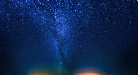 Night Starry Sky. Natural Night Sky Background. View Of Glowing