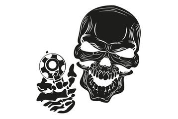 fun and evil skull with a gun. vector.