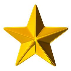 3D illustration golden star sign Symbol