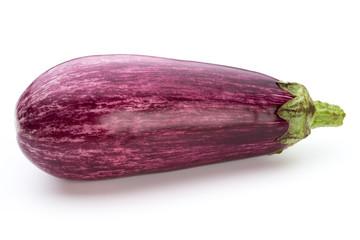 Fresh eggplants, aubergine on a white background.