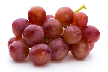 Ripe red grape isolated on white.