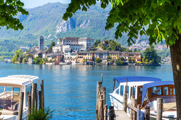 Romantic view of San Giulio island at Lake Orta, Piedmont, Italy