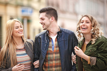 Friends enjoying city