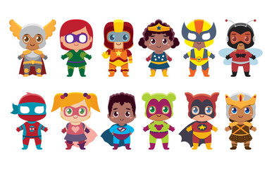 Vector cute kawaii set superheros colorful isolated