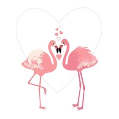 Pair of cute flamingos