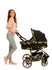 attractive Beautiful young woman with baby stroller isolated over white background