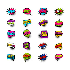 next pow goal copy woof. Pop art comic text phrase set collection. Colored comics book label sticker funny word. Vintage halftone speech bubble balloon box. Colorful chat message vector illustration.
