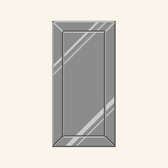 Rectangular mirror with chamfers